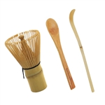 Bamboo Tea Whisk, Chashaku, and Teaspoon for Preparing Macha (Green Tea Chasen)