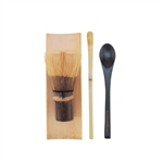 Black Chasen (Tea Whisk) + Tray + Chashaku (Hooked Bamboo Scoop) for preparing Matcha + Black Tea Spoon