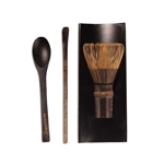 Black Chasen (Tea Whisk) +Black Tray + Black Chashaku (Hooked Bamboo Scoop) for preparing Matcha + Black Tea Spoon