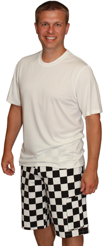 & White Checkered Game Bib Cargo Shorts