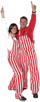 Red & White Adult Striped Game Bib Overalls
