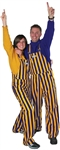 Purple & Yellow Adult Striped Game Bib Overalls