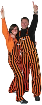 Orange & Black Adult Striped Game Bib Overalls