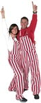 Crimson & White Adult Striped Game Bib Overalls