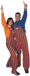 Navy Blue & Orange Adult Striped Game Bib Overalls