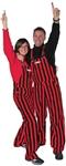 Red & Black Adult Striped Game Bib Overalls