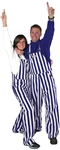 Purple & White Adult Striped Game Bib Overalls