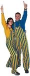 Royal Blue & Yellow Adult Striped Game Bib Overalls