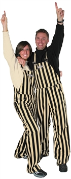 Black & Gold Adult Striped Game Bib Overalls