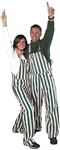 Green & White Adult Striped Game Bib Overalls