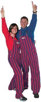 Navy Blue & Red Adult Striped Game Bib Overalls