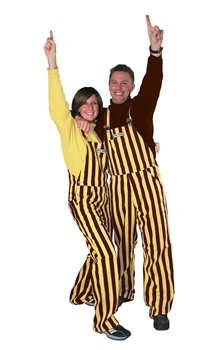 Brown & Gold Adult Striped Game Bib Overalls