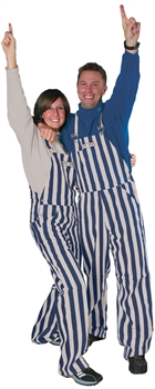 Navy Blue & Grey Adult Striped Game Bib Overalls