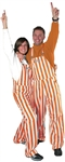 Burnt Orange & White Adult Striped Game Bib Overalls