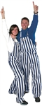 Navy Blue & White Adult Striped Game Bib Overalls