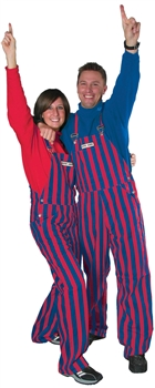 Royal Blue & Red Adult Striped Game Bib Overalls