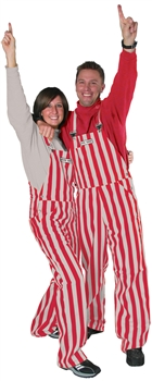 Scarlet & Grey Adult Striped Game Bib Overalls