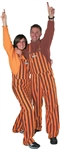 Maroon & Orange Adult Striped Game Bib Overalls