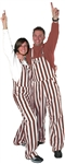 Maroon & White Adult Striped Game Bib Overalls