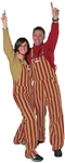 Garnet & Metallic Gold Adult Striped Game Bib Overalls
