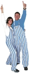 Light Blue & White Adult Striped Game Bib Overalls