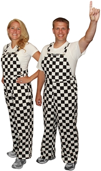 Black & White Adult Checkered Game Bib Overalls