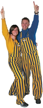 Navy Blue & Yellow Adult Striped Game Bib Overalls