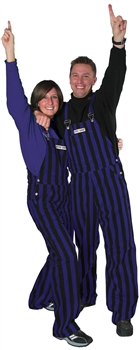 Purple & Black Adult Striped Game Bib Overalls