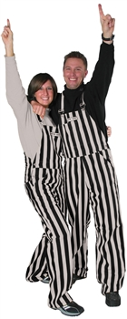 Black & Silver Adult Striped Game Bib Overalls