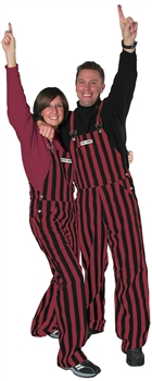 Garnet & Black Adult Striped Game Bib Overalls