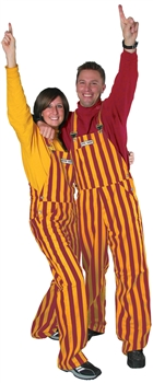 Garnet & Yellow Adult Striped Game Bib Overalls