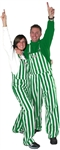 Kelly Green & White Adult Striped Game Bib Overalls