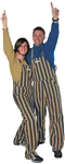 Navy Blue & Gold Adult Striped Game Bib Overalls