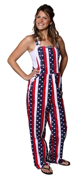 adult red white and blue USA game bib overalls