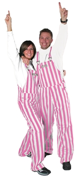 pink and white adult game bib overalls