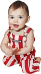 Red & White Striped Infant Game Bib Overalls