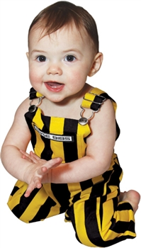Black & Yellow Striped Infant Game Bib Overalls