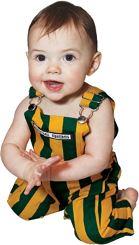 Green & Yellow Striped Infant Game Bib Overalls