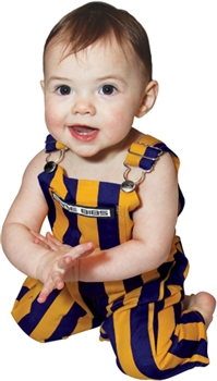 Infant Purple & Yellow Striped Game Bib Overalls