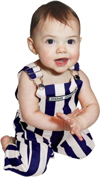 Infant Purple & White Striped Game Bib Overalls