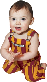 garnet and gold infant game bib overalls