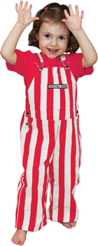 red and white toddler game bib overalls