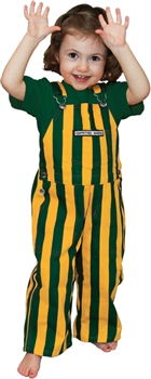 Green & Yellow Striped Toddler Game Bib Overalls