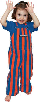 Blue & Orange Striped Toddler Game Bib Overalls