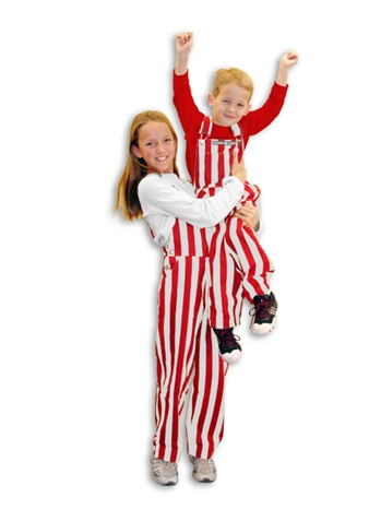 Red & White Striped Youth Game Bib Overalls