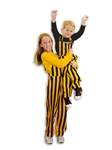 Youth Black & Yellow Striped Game Bib Overalls