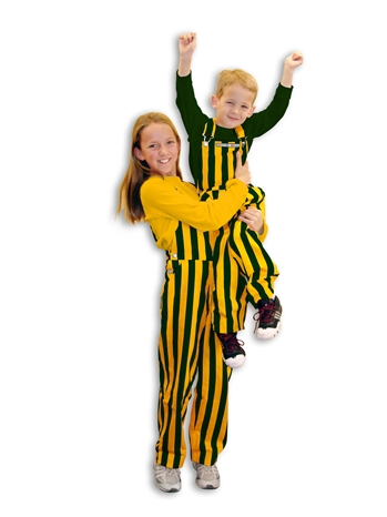 Green & Yellow Striped Youth Game Bib Overalls