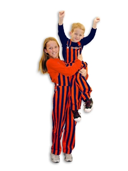Navy Blue & Orange Striped Youth Game Bib Overalls