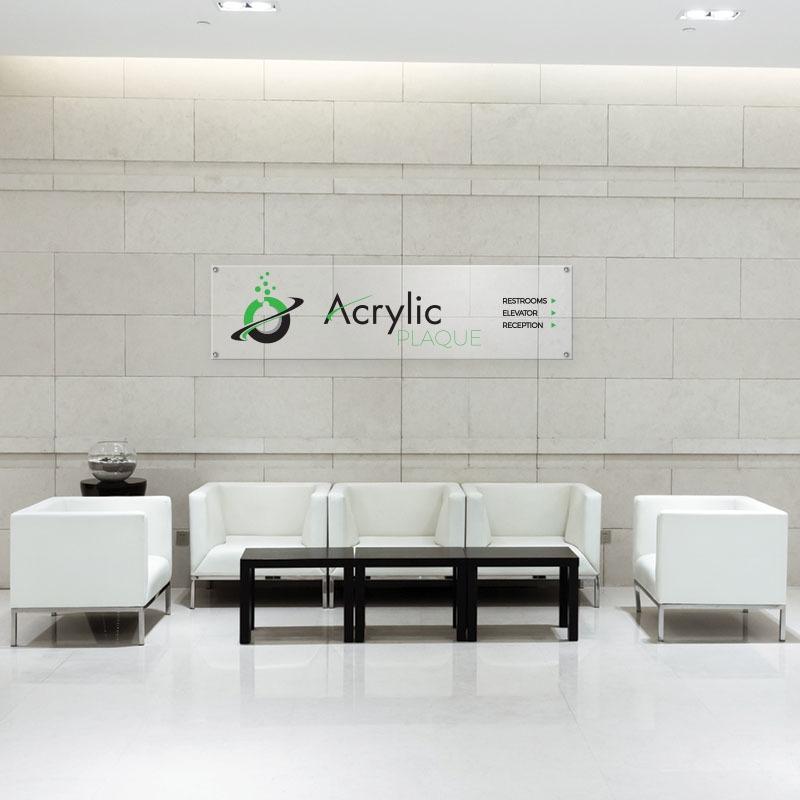 Custom Acrylic Plaque Office Lobby Sign For Reception Area