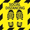 "Social Distancing - 12"" x 12"" Floor Sign (Pack of 6)"